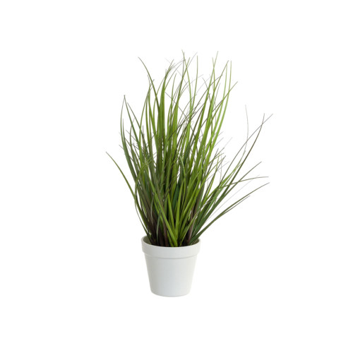 Artificial Grass With White Pot 46cm, Green