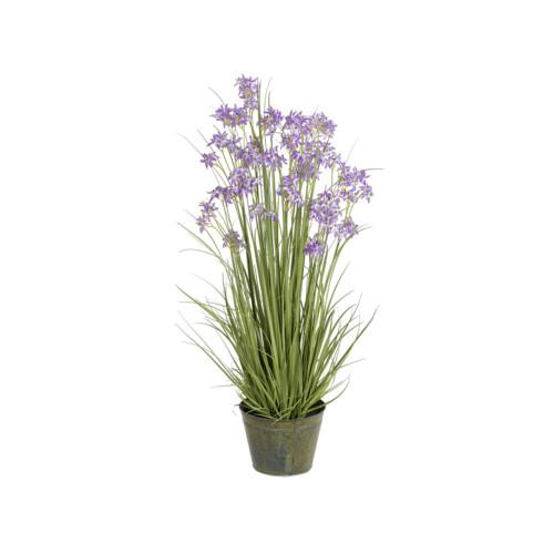 Artificial Allium Grass With Zinc Pot, Purple