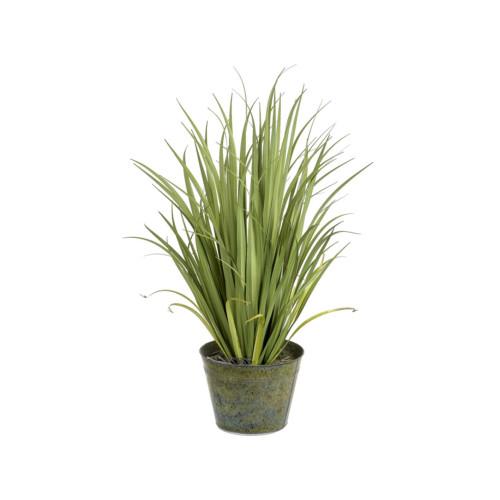Artificial Grass In Zinc Pot 110cm, Green
