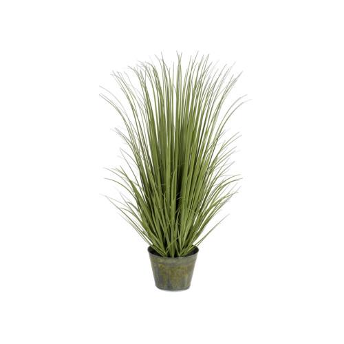 Artificial Grass In Metal Pot 138cm, Green