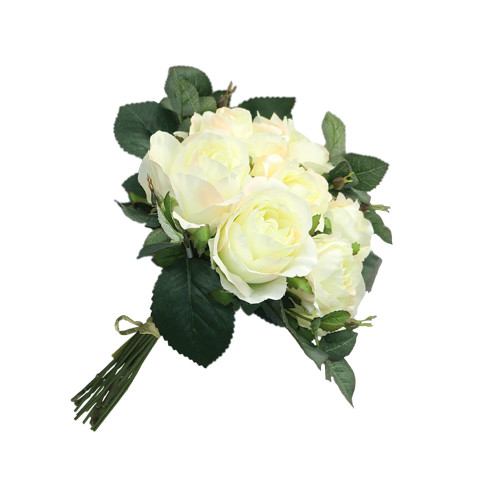 """Artificial 9"""" Rose Bouquet, Cream and Pink"""