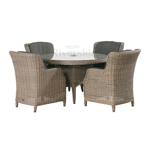 Brighton 4 Seater Rattan Dining Set with 130cm Round Table