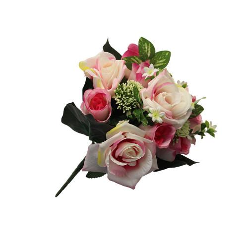 Artificial 30cm Rose and Allium Bush, Pink