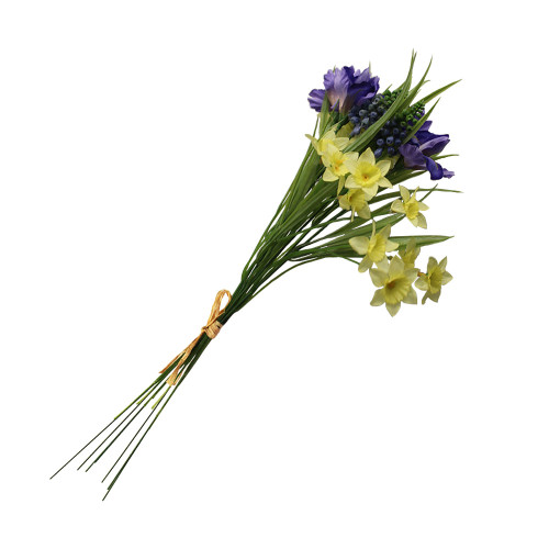 Artificial 42cm Iris, Daffodil and Hyacinth Bundle, Purple