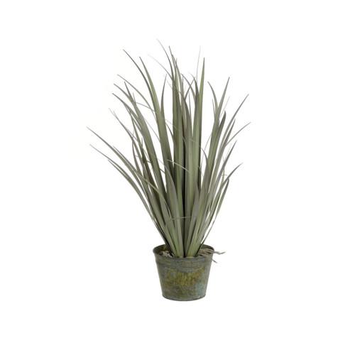 Artificial Grass In Zinc Pot 110cm, Purple