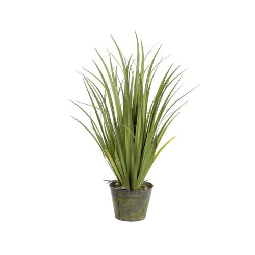 Artificial Grass In Zinc Pot 89cm, Green
