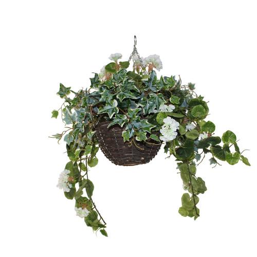 UV Resistant Artificial Geranium Hanging Basket, Cream