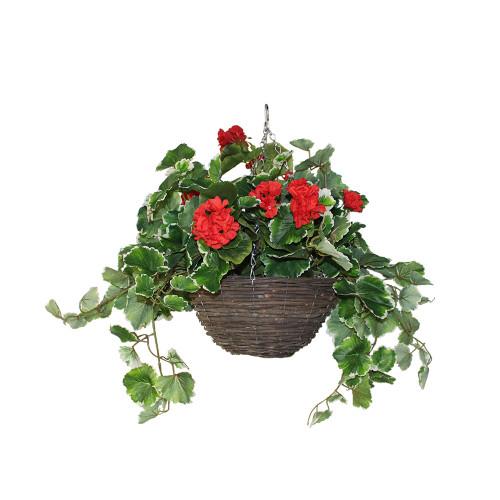 UV Artificial Geranium Hanging Basket- Red