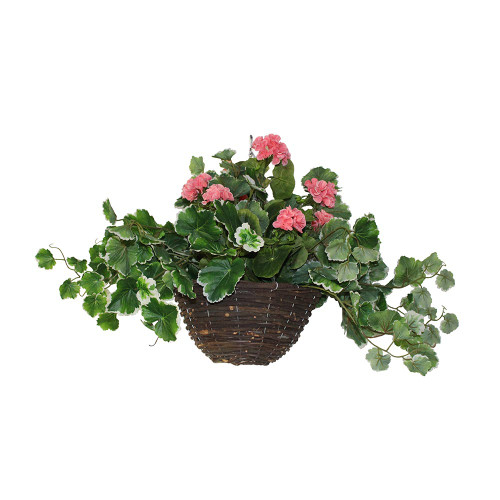 UV Artificial Geranium Hanging Basket-Pink