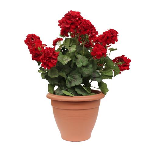 Artificial Geranium Tub - Red