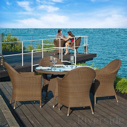 Alexander Rose San Marino 4 Seater Rattan Dining Set With Oatmeal Cushions