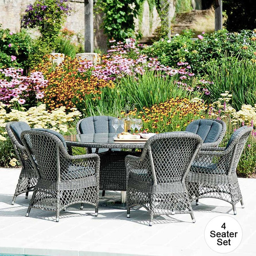 Alexander Rose 4 Seater Monte Carlo Rattan Dining Set 1.2m Table & Glass With Cushions
