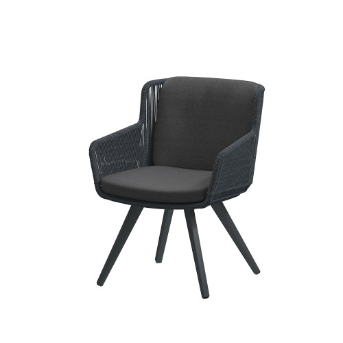 4 Seasons Outdoor - Flores Dining Chair, Anthracite with Alu legs