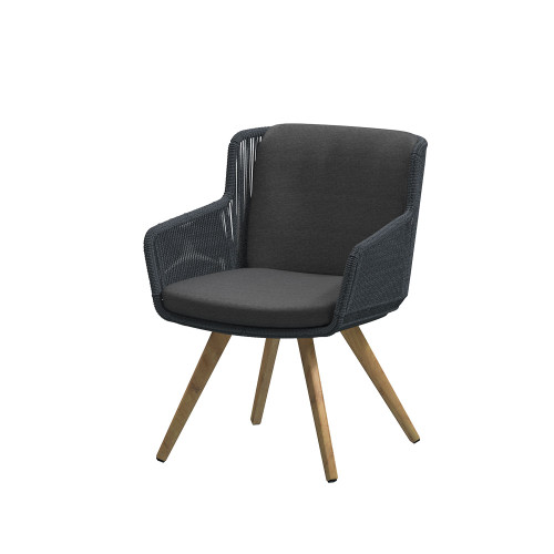 4 Seasons Outdoor - Flores Dining Chair, Anthracite with Teak Legs