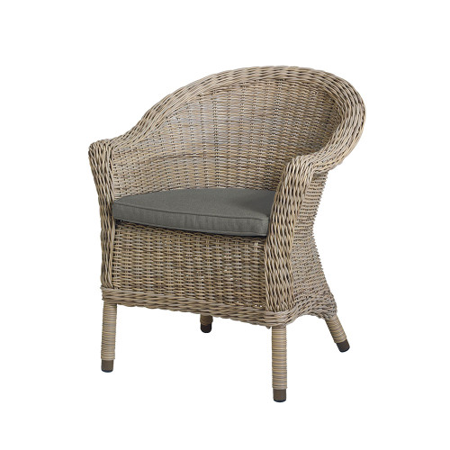 4 Seasons Outdoor - Chester Rattan Dining Chair With Single Cushion - Pure