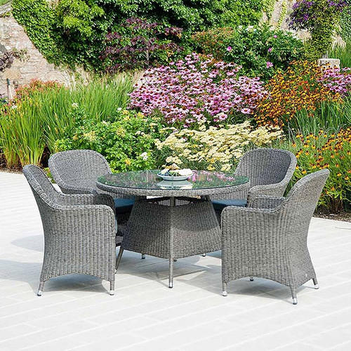 Alexander Rose Monte Carlo 4 Seater Closed Weave Rattan Dining Set With Cushions