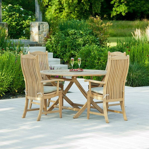 Alexander Rose Roble 4 Seater Bengal Dining Set 130cm, Oatmeal