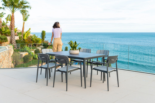Alexander Rose - Rimini 6 Seat Dining Set with 1.5m x 0.9m Table