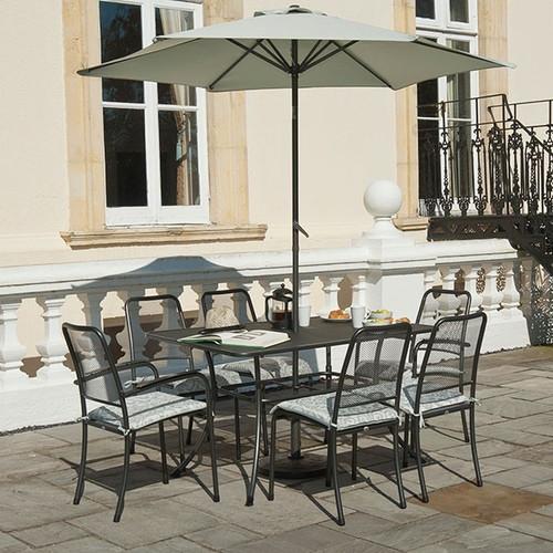 Alexander Rose Portofino Metal Rectangular Garden Table 1.45m x 0.9m - 6 Seater Rectangular Table Set (DOES NOT INCLUDE CUSHIONS)