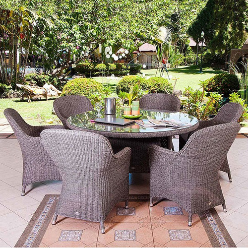 Alexander Rose Monte Carlo 6 Seater Closed Weave Rattan Dining Set With Cushions