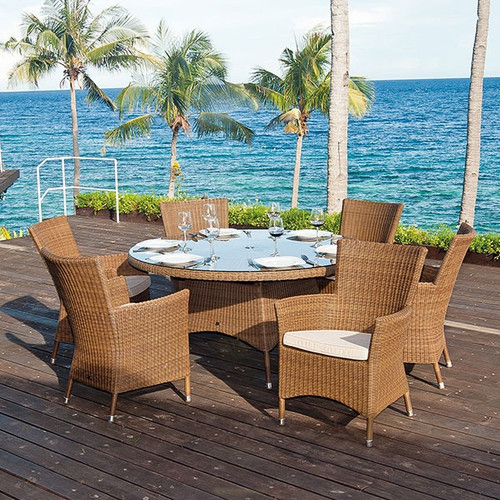 Alexander Rose San Marino 6 Seater Rattan Dining Set With Oatmeal Cushions