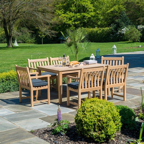 Alexander Rose Roble 6 Seater Dining Set 1.5m x 1m, Charcoal