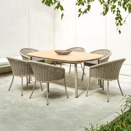 Alexander Rose Cordial Beige Roble Top 6 Seater Dining Set, 2m x 1.2m