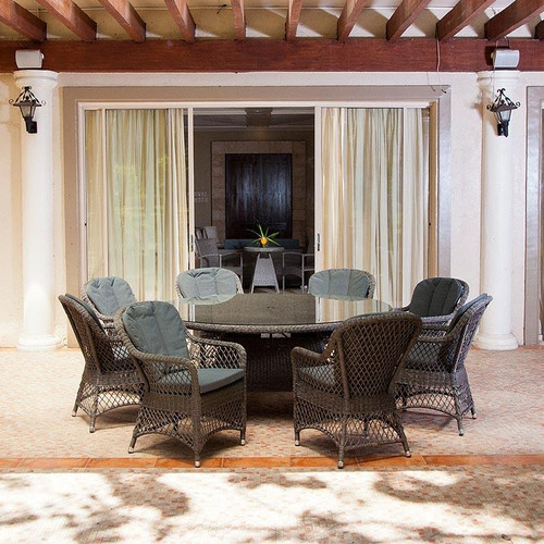 Alexander Rose Monte Carlo 8 Seater Open Weave Rattan Dining Set With Cushions