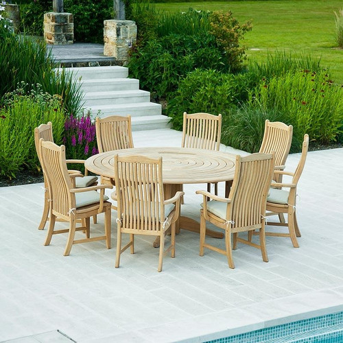 Roble 8 Seater Bengal Set With Integral Lazy Susan 175cm, Oatmeal