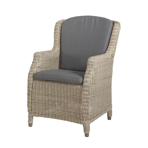 4 Seasons Outdoor - Brighton Rattan Dining Chair With 2 Cushions - Pure