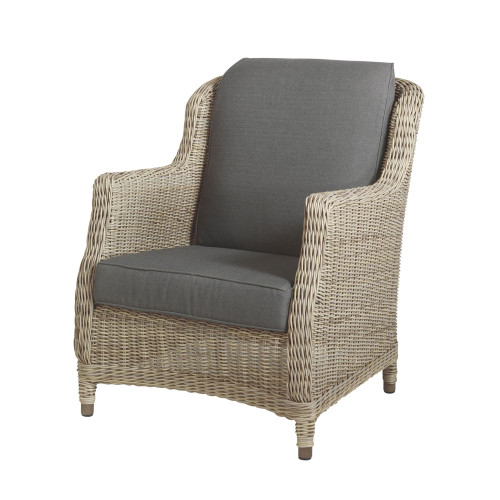 4 Seasons Outdoor - Brighton Rattan Living Chair With 2 Cushions - Pure