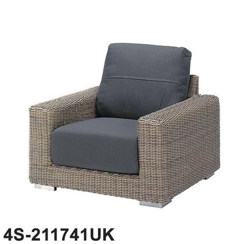 Kingston Rattan Living Chair With 2 Cushions - Pure