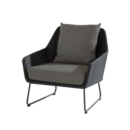 4 Seasons Outdoor - Avila Living Chair With Cushions, Polyloom Anthracite