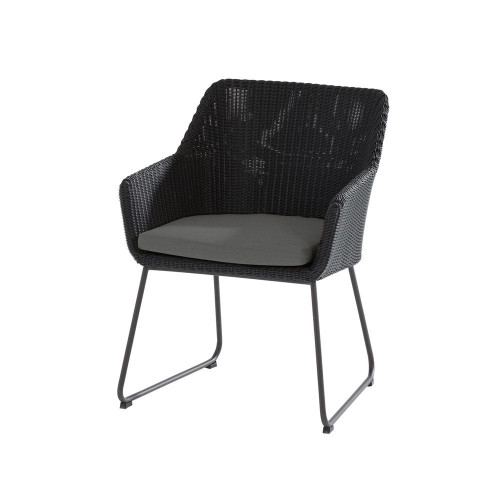 4 Seasons Outdoor - Avila Dining Chair With Cushion, Polyloom Anthracite