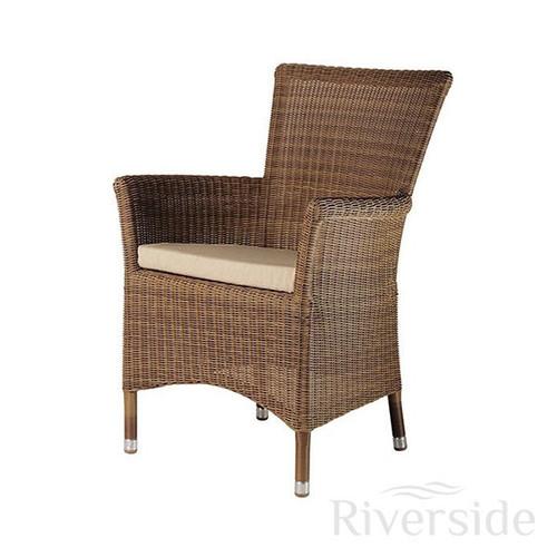 Alexander Rose San Marino Square Rattan Garden Armchair With Oatmeal Cushion