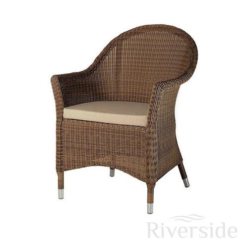 Alexander Rose San Marino Curved Rattan Garden Armchair With Oatmeal Cushion
