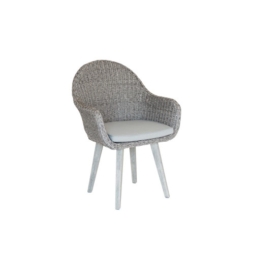 Alexander Rose Old England Grey Painted Woven Bucket Chair