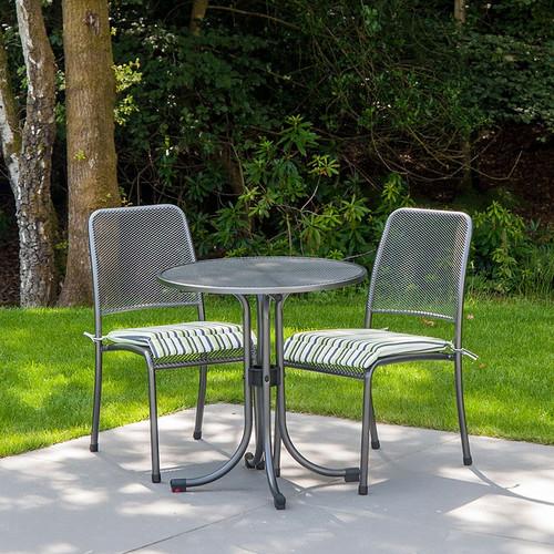 Alexander Rose Portofino Metal Round Bistro Table 0.7M - Tea for Two Set, Lime Stripe
