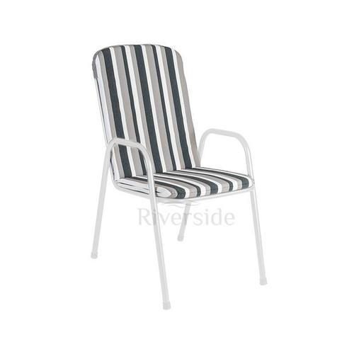 Alexander Rose Portofino Highback Stacking Armchair Cushion, Charcoal Stripe