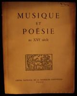 MUSIQUE ET POESIE AU XVI SIECLE Music Poetry France Paris First Edition Humanity