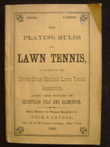 PLAYING RULES OF LAWN TENNIS, Polo & Badminton - 1892