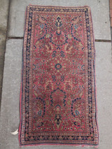 Sarouk Bidjar Lillihan Rug - soft red & blue with cream [2 x 4] soft wool pile