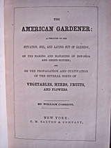 THE AMERICAN GARDENER, by William Cobbett - 1819