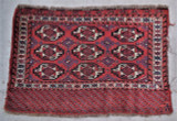 "TURKMEN BAG piece- red and blue [30""x45""] tribal Yomud Chuval rare human figures"