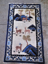 ANTIQUE CHINESE DECO RUG with figurative deer - blues on white [3x5] oriental VG