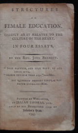 STRICTURES ON FEMALE EDUCATION, by John Bennett - 1795 Etiquette Decorum Essays