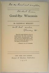GOOD-BYE WISCONSIN, Glenway Wescott - 1928 [Signed 1st Ed.] Short Stories VG