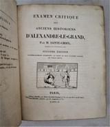 EXAMEN DES HISTORIENS D'ALEXANDRE-LE-GRAND Ste Croix -1810 Alexander The Great