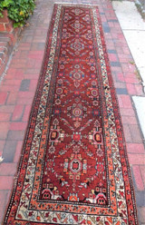 ANTIQUE PERSIAN RUNNER - C.1900 [3x11] Reds/Blues Heriz Kazak Arts & Crafts rug