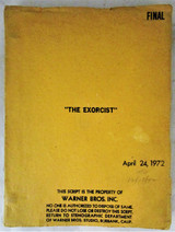 THE EXORCIST, by Wm P Blatty - 1972 [Original Warner Bros Script]